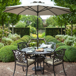 Small Image of 2018 Hartman Capri Cast 4 Seater Round Set with Parasol