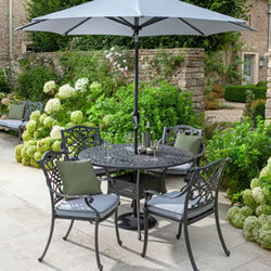 Small Image of Hartman Capri 4 Seat Round Dining Set in Antique Grey / Platinum