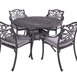 Extra image of Hartman Capri 4 Seat Round Dining Set in Antique Grey / Platinum