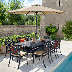 Small Image of Hartman Capri 8 Seat Rectangular Dining Set in Bronze/Amber - NO PARASOL