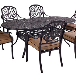 Small Image of Hartman Amalfi Comfort 6 Seater Oval Dining Set in Bronze / Amber