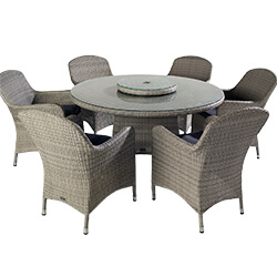 Extra image of Hartman Curve 6 Seater Dining Set with Lazy Susan in Cool Grey / Charcoal