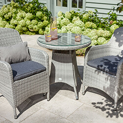 Small Image of Hartman Curve Bistro Set in Cool Grey / Charcoal