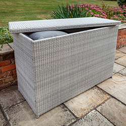 Extra image of Hartman Curve Weave Cushion Box in Cool Grey
