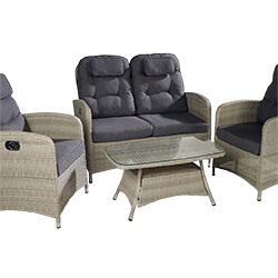 Extra image of Hartman Curve Reclining 2 Seat Lounge Set in Cool Grey / Charcoal