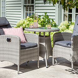 Small Image of Hartman Curve Reclining Bistro Set in Cool Grey / Charcoal