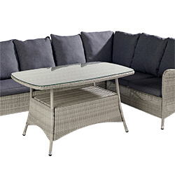 Extra image of Hartman Curve Rectangular Casual Dining Set in Cool Grey / Charcoal