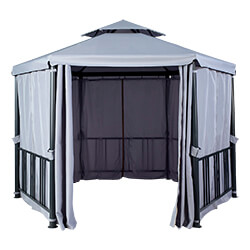 Extra image of Hartman Hexagon Gazebo with Curtains in Grey