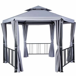 Small Image of Hartman Hexagon Gazebo with Curtains in Grey