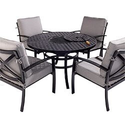 Extra image of Jamie Oliver 4 Seat Fire Pit Set in Riven / Pewter