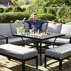 Small Image of 2019 Jamie Oliver Corner Sofa Grilling Set in Riven / Pewter