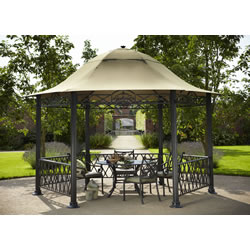 Small Image of Hartman Kew Cast Aluminium Pavillion Gazebo with Curtains