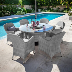 Small Image of Hartman Curve 6 Seater Dining Set with Lazy Susan in Grey / Charcoal