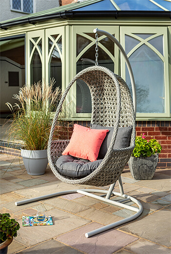 Image of Hartman Heritage Hanging Egg Chair with cushion in Ash / Slate