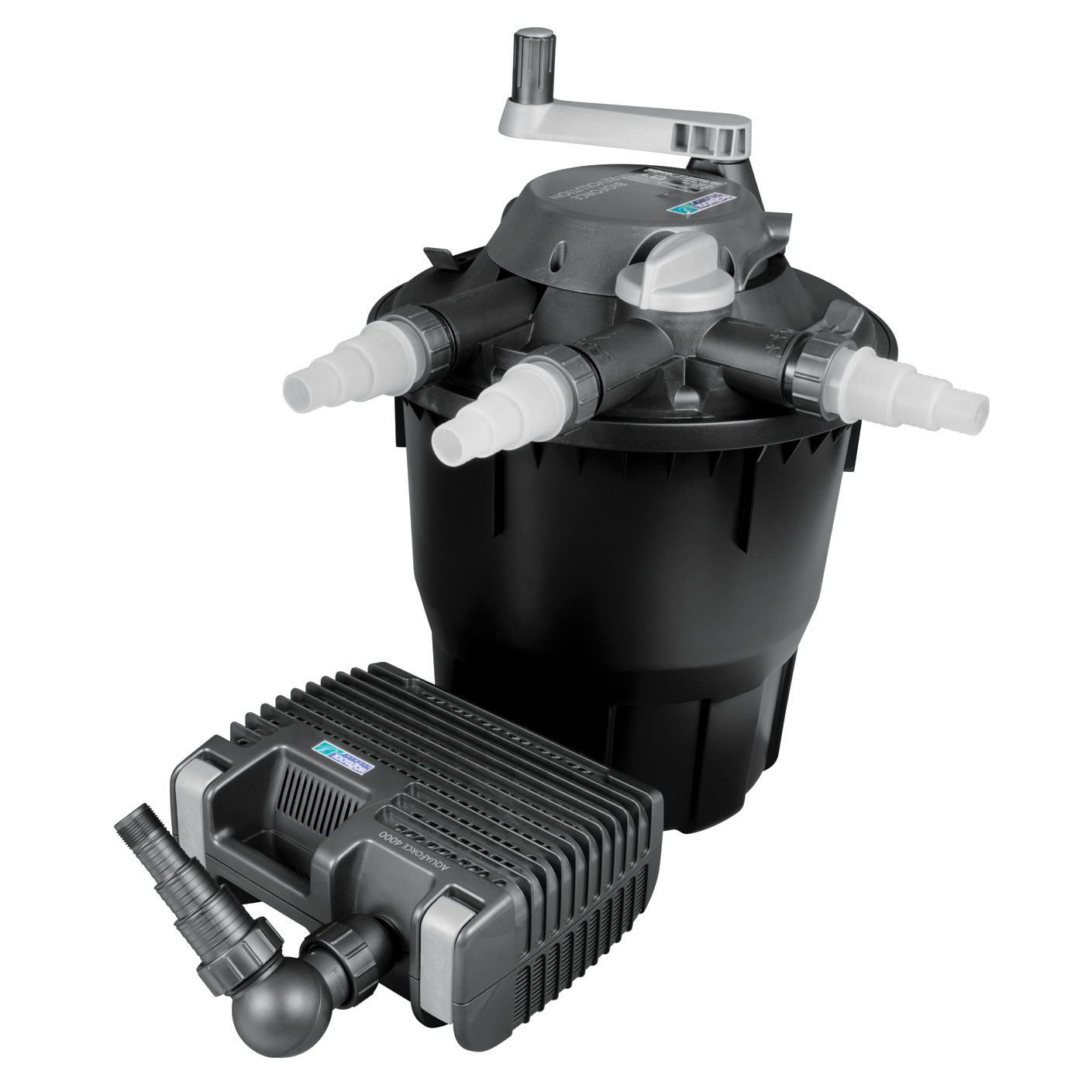 New hozelock bioforce revolution 6000 uvc filtration for Pond pump and filter system