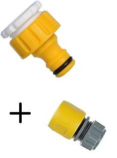 Image of Hozelock Threaded Tap Connector & Hose End Connector Twin Pack
