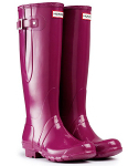 Hunter Gloss Adjustable Wellies in Violet - With Free Hotties