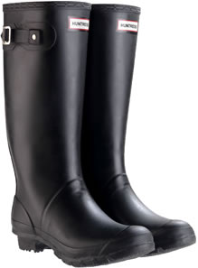 Image of Wide Calf Black Huntress Wellies - UK Size 6