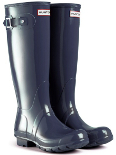 Gloss Navy Hunter Wellies (Original) - With Free Hotties