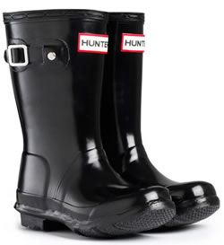 Image of Original Gloss Black Kids Hunter Wellies - UK Size 8 / Euro 25