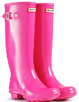 Huntress Gloss Wellies in Fuchsia - With Free Hotties