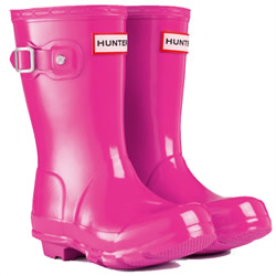 Image of Original Gloss Lipstick Pink Kids Hunter Wellies - UK Size 8 / Euro 25