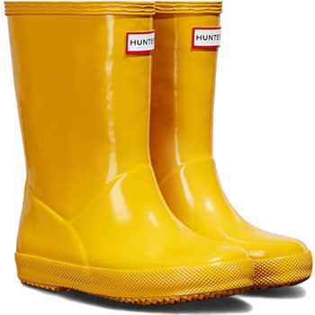 Image of Kids First Gloss Hunter Wellies - Yellow - UK Size 13