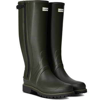 Image of Mens Hunter Balmoral Full Zip Wellies - Dark Olive - UK 12