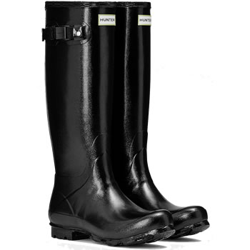 Image of Womens Hunter Norris Field Gloss Wellies - Black
