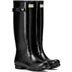 Small Image of Womens Hunter Norris Field Gloss Wellies - Black
