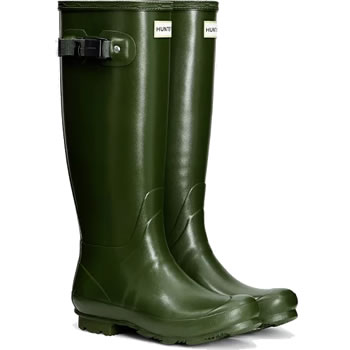 Image of Womens Hunter Norris Field Wellington Boots - Vintage Green - UK 7