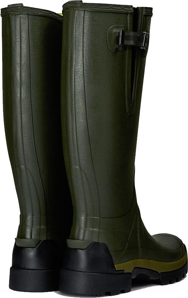 Extra image of Hunter Balmoral Bamboo Carbon Adjustable Wellies - Dark Olive UK 10