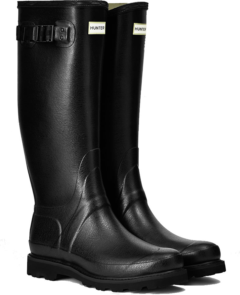 Mens Hunter Balmoral Field Wellington Boots Black 163 118
