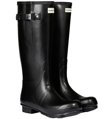 Image of Men's Hunter Norris Field Adjustable Neoprene Wellington Boots in Black - UK 6