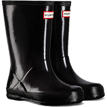 Image of Kids First Gloss Hunter Wellies - Black UK 8