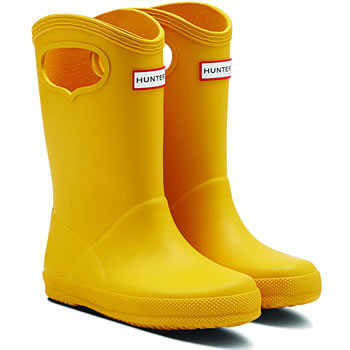 Image of Kids First Classic Pull-On Hunter Wellies in Yellow - UK 6