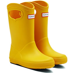 Small Image of Kids First Classic Pull-On Hunter Wellies in Yellow - UK 6