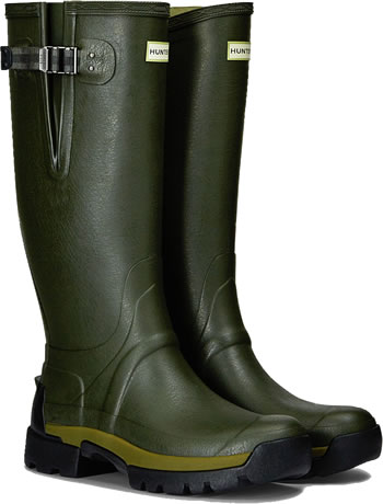 Image of Hunter Balmoral Bamboo Carbon Adjustable Wellies - Dark Olive UK 10