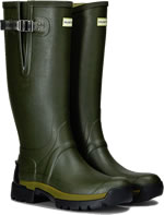 Small Image of Hunter Balmoral Bamboo Carbon Adjustable Wellies - Dark Olive UK 9