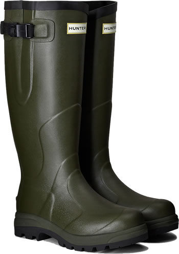 Image of Hunter Balmoral Classic Wellington Boots - Dark Olive UK 5