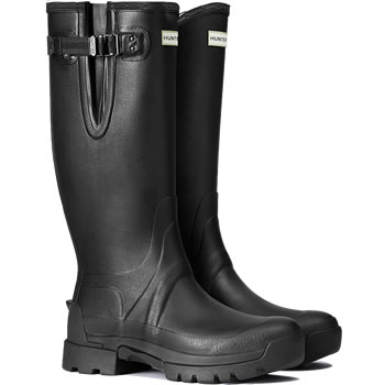 Image of Mens Hunter Balmoral Side Adjustable Wellies - Black UK 8