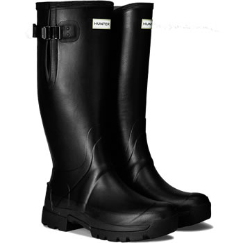 Image of Mens Hunter Balmoral Bamboo Carbon Adjustable Wellies - Black