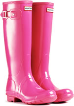 Genuine Fuchsia Hunter Gloss Wellies (Original) - With Free Hotties