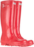 Genuine Pillar Box Red Hunter Gloss Wellies (Original) - With Free Hotties