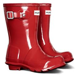 Image of Original Gloss Military Red Kids Hunter Wellies - UK Size 11 / Euro 29