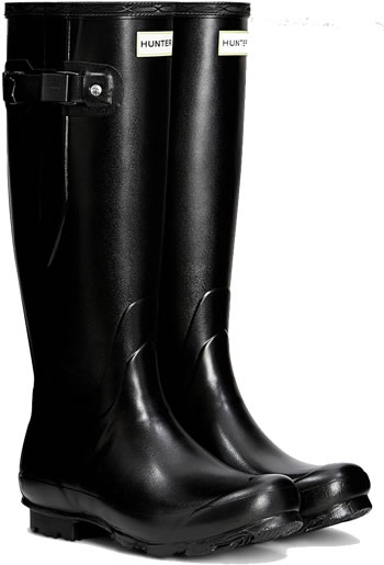 Image of Hunter Norris Field Adjustable Wellington Boots - Black UK 11