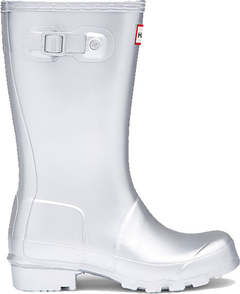 Extra image of Kids Original Metal Hunter Wellies Silver UK 10