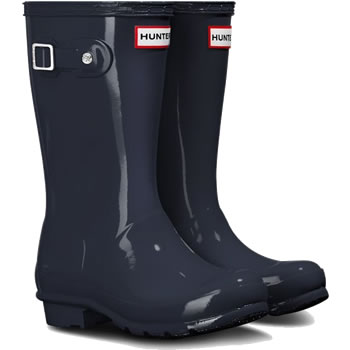 Image of Original Gloss Navy Kids Hunter Wellies - UK Size 12