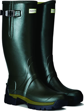 Image of Mens Hunter Balmoral Side Adjustable Wellies - Dark Olive UK 8