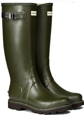 Image of Hunter Balmoral Field Wellington Boots - Dark Olive UK 7